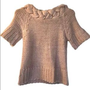 Love Stitch Brown Chunky Braided Neck Sweater